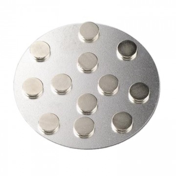 Magnety neodymové 10x2 mm (12 ks) na kovové destičce
