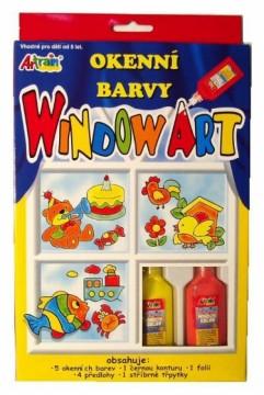 Slupovací barvy na okna - 6 barev, folie, předlohy, třpytky