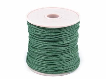Šňůra bavlněná voskovaná 1 mm délka 3 m - tmavě zelená