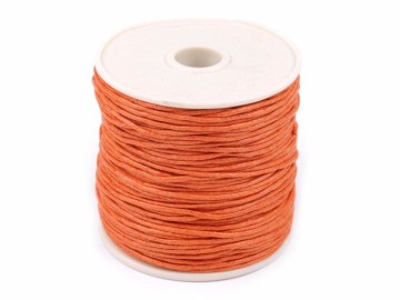 Šňůra bavlněná voskovaná 1 mm délka 3 m - oranžová