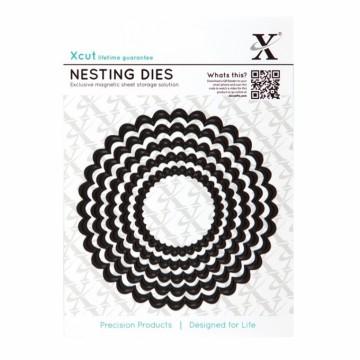 Vyřezávací kovové šablony (5 ks) - Kruhy s vroubky