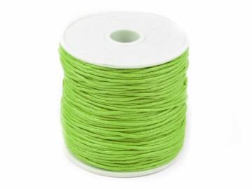 Šňůra bavlněná voskovaná 1 mm délka 3 m - světle zelená