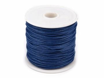 Šňůra bavlněná voskovaná 1 mm délka 3 m - královská modrá