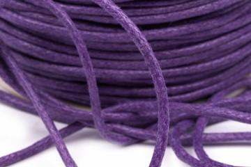 Šňůra bavlněná voskovaná 1,5 mm délka 3 m - tmavě fialová
