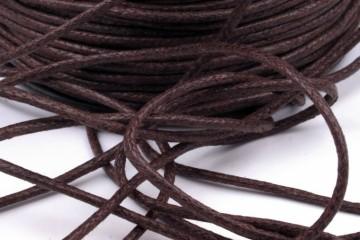 Šňůra bavlněná voskovaná 1,5 mm délka 3 m - kávově hnědá