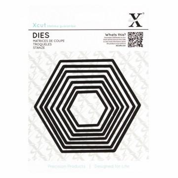 Vyřezávací kovové šablony (7 ks) - Šestiúhelníky