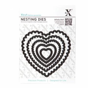 Vyřezávací kovové šablony (5 ks) - Srdce vroubkované