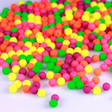Neonové korálky 4 mm, mix (40 ks)