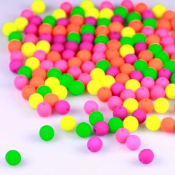 Neonové korálky 6 mm, mix (30 ks)