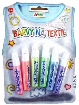 Konturovací barvy na textil 6 x 7 ml - perleťové