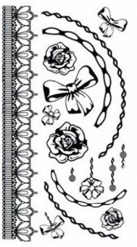 Tetovací obtisky černé 15 x 8,5 cm - Mašle