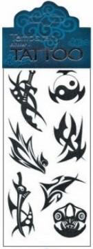 Tetovací obtisky černé 7,5 x 15 cm - Jing jang