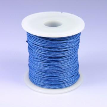 Šňůra bavlněná voskovaná 1 mm délka 3 m - středně modrá