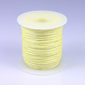 Šňůra bavlněná voskovaná 1 mm délka 3 m - světle žlutá