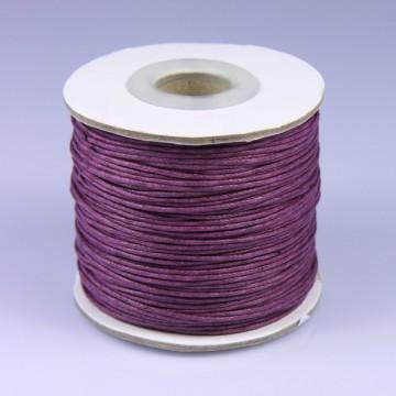 Šňůra bavlněná voskovaná 1 mm délka 3 m - tmavě fialová