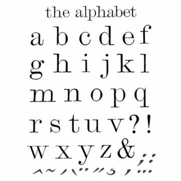 Transparentní razítka Abeceda malá písmena (43 ks)