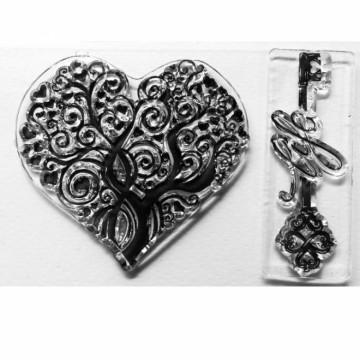 Transparentní razítko Srdce a klíč (2 ks)