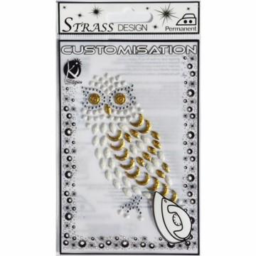 Nažehlovací obrázek štrasový malý - Sova bílá
