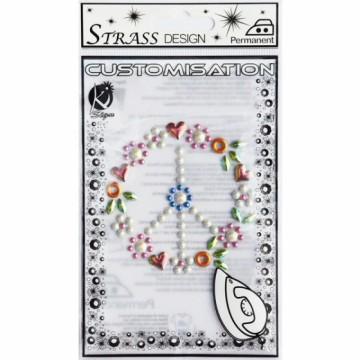 Nažehlovací obrázek štrasový malý - Láska a mír