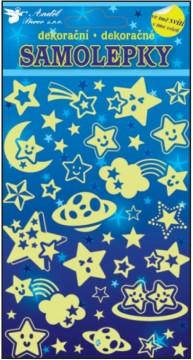 Samolepky svítící ve tmě - Hvězdičky 19x10 cm
