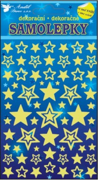 Samolepky svítící ve tmě - Hvězdičky 21x13 cm