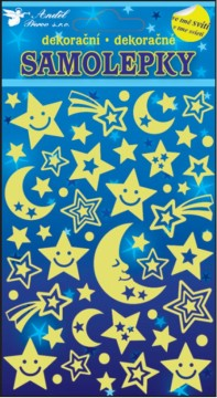 Samolepky svítící ve tmě - Noční obloha 21x13 cm