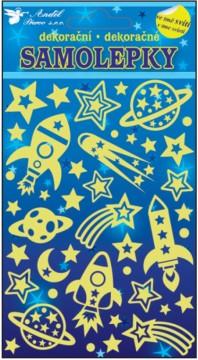 Samolepky svítící ve tmě - Vesmírné lodě 21x13 cm