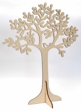 Dřevěný výřez - dekorační strom s ptáčkem
