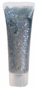 Třpytivý gel na obličej v tubě 18 ml - stříbrná