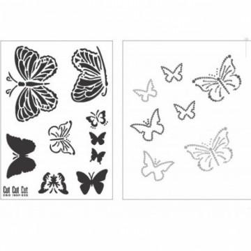 Samolepicí flexibilní šablona + nažehlovací obrázky A4 Motýl