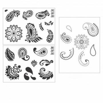 Samolepicí flexibilní šablona (2 ks) + nažehlovací obrázky A4 Kašmír