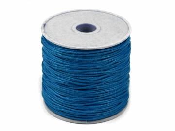 Šňůra bavlněná voskovaná 1 mm délka 3 m - tmavě modrá