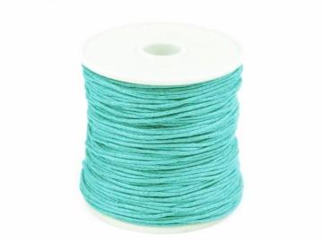 Šňůra bavlněná voskovaná 1 mm délka 3 m - modrá aqua