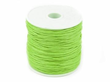 Šňůra bavlněná voskovaná 1 mm délka 3 m - neonově zelená