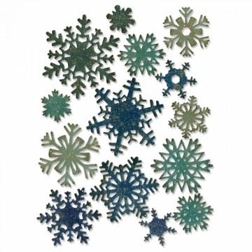 Vyřezávací kovové šablony (14 ks) - Sněhové vločky