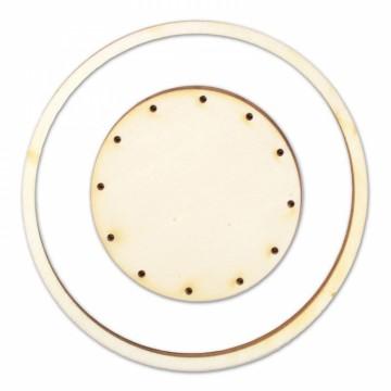 Dřevěný výřez dva kruhy - základ pro lapač snů, průměr 12 cm